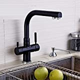 HomJo Kitchen Faucet Black Solid Brass Dual Handle Ceramic Taps Rotary Single Hole Sink Mixer Tap , 1