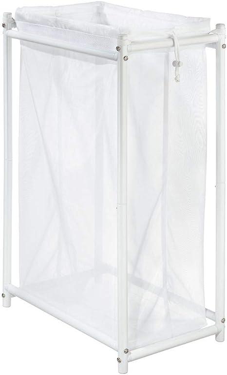 mDesign Cesto para ropa sucia para baño o lavadero – Bolsa para la colada de tejido de malla transpirable – Mueble de baño de metal para guardar ropa sucia y ahorrar espacio –