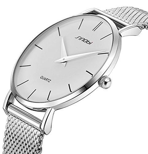 Mesh Steel Watch (SINOBI Ultra Thin Minimalist Stainless Steel Mesh Band Mens Watch Unisex Wrist Watch)