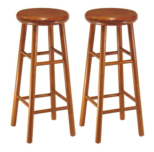 Winsome Wood Assembled 31-Inch Cherry Finish Swivel Stools, Set of 2 - Winsome Cherry Bar Stool