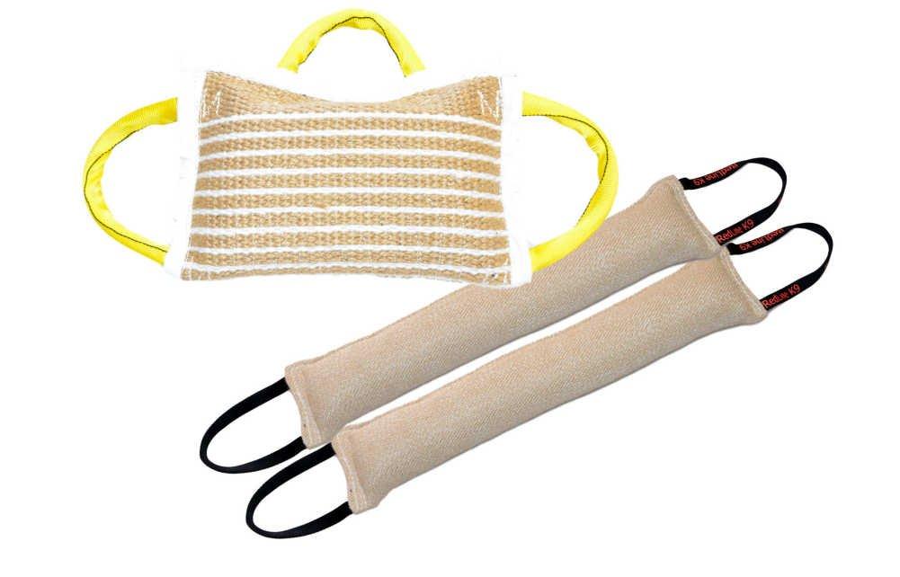 Bundle 1 - 3 Handle Jute Bite Pillow Firm & 2 - 4 inch x 24 inch 2 Handle Jute Tug Toy - Redline K9