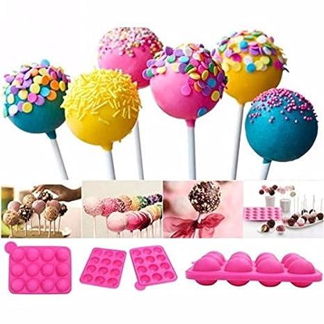 Molde silicona 12 cavidades lollipop multifuncional azul helados, bombones, dulces, pop cakes. carritos de chuches baby shower rosa: Amazon.es: Hogar