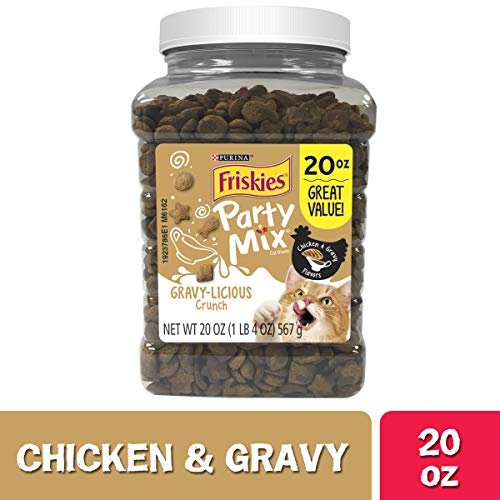Purina Friskies Made in USA Facilities Cat Treats, Party Mix Crunch Gravylicious Chicken & Gravy Flavors - 20 oz. Canister (Party Cat)