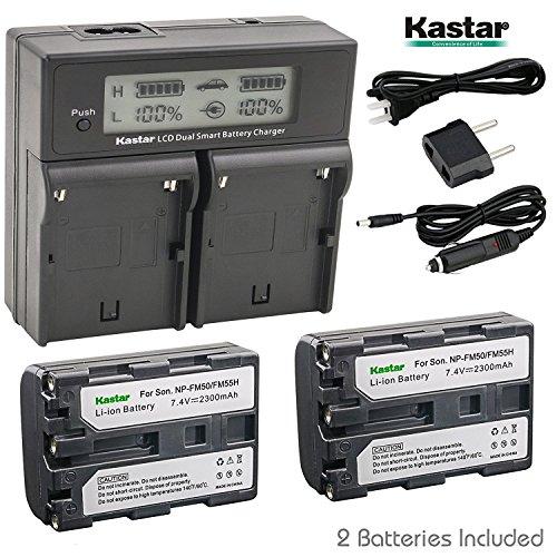 Kastar LCD Dual Smart Fast Charger & 2 x Battery for NP-FM50 NP-FM55H NP-QM51 and DSC-F707 DSC-F717 DSC-F828 DSC-S30 DSC-S50 DSC-S70 DSC-S75 DSC-S85 DSLR-A100 MVC-CD200 MVC-CD250 MVC-CD400 MVC-CD500 (S85 Dsc Camera Digital)