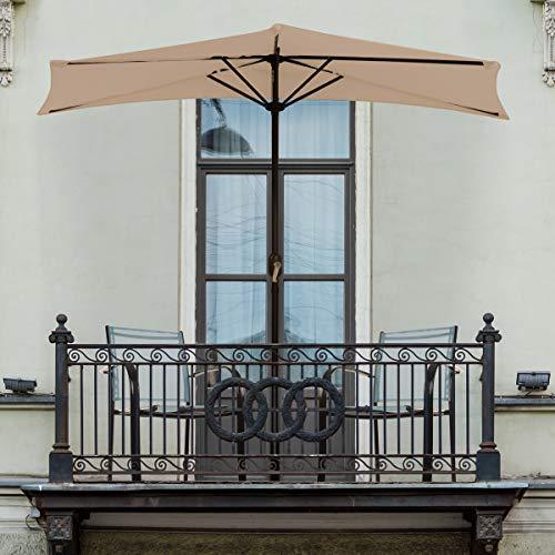 - Pure Garden 50-LG1044 Half Round Patio Umbrella with Easy Crank, 9' Sand