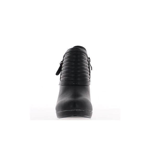95fbe2a8be3 Las Mujeres Negras Botas Media Tacon Plataforma y Collar Rayado 10 cm:  Amazon.es: Zapatos y complementos