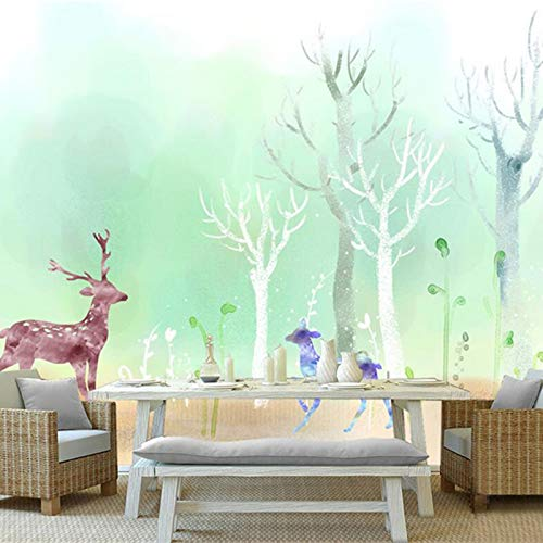 Yonthy 3D Mural Wall Sticker Wallpaper Living Room Bedroom Decoration Nodic Natural Trees Photo Elk Forest Silver Birch Home Decor 150Cmx100Cm