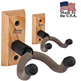 String Swing Guitar Hanger – Holder for Electric Acoustic and Bass Guitars – Stand Accessories Home or Studio Wall - Musical Instruments Safe without Hard Cases – Oak Hardwood CC01K-O 2-Pack