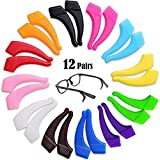 12 Pairs Glasses Hooks Ear Eyeglass Strap Holder Eyewear Retainer Silicone Glasses Anti Slip Holder Eyeglass Temple Tip for Kid Adult 12 Assort Colors