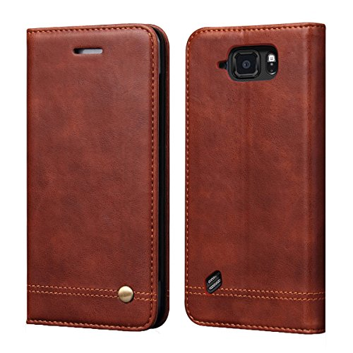 Galaxy S6 Active Case[Not for Galaxy S6],RUIHUI Luxury Flip Leather Wallet Shockproof Protective TPU Bumper Case with Magnetic Closure,Card Slots and Kickstand for Samsung Galaxy S6 Active (Brown)