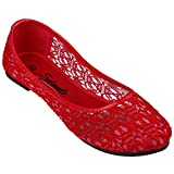 Women's Cute Lace Crochet Ballet Flat Comfy Slip On Loafers Ballerina Shoes (9, Red)
