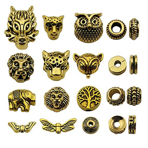 Antique Gold Mixed 60pcs Loose Spacer Bead,Craft Supplies Charms Pendants for Jewelry Findings Making Accessory for DIY Bracelet Necklace M247 ()