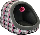 Dallas Manufacturing Co. 14'' Hooded Cat Bed with Play Toy, Hot Pink Geo Dot