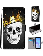 Miagon Full Body Case for Huawei Y7 2018,Colorful Pattern Design PU Leather Flip Wallet Case Cover with Magnetic Closure Stand Card Slot,Skull Crown