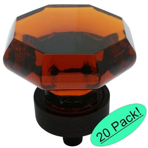 - Cosmas 5268ORB-A Oil Rubbed Bronze Cabinet Hardware Knob with Amber Glass - 1-5/16