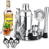 Cocktail Bar Set Kit, GLURIZ 12 Piezas Utensilios de Bar, Juego de Coctelera 550Ml, Conjuntos para el Bar Coctelera de Cóctel de Acero Inoxidable Barra de Coctelería Juego Incluye Herramientas y Accesorios