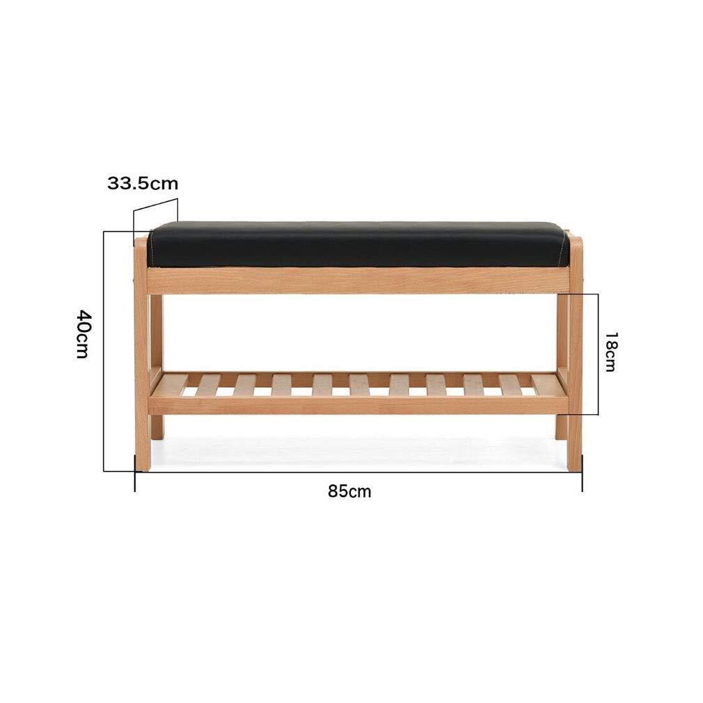 Wood color L85CM ECSD shoes Bench, Solid Wood shoes Rack Storage Organizer & Hallway Bench ,with Faux Leather Accents (color   Walnut color, Size   L85CM)