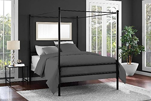 Mainstays Easy to Assemble Modern Design Sturdy Metal Frame Four Post Canopy Bed (Full, Black) ()
