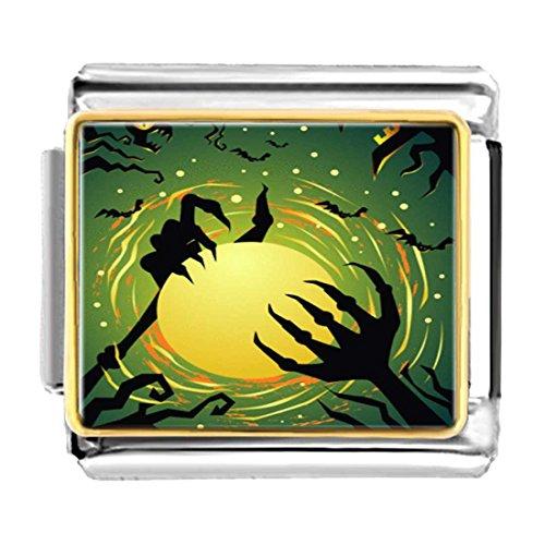 (GiftJewelryShop Gold Plated Halloween Bats Devil Hand Bracelet Link Photo Italian Charms)