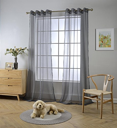 Miuco 2 Panels Grommet Textured Solid Sheer Curtains 95 Inches Long for Office (2 x 54 Wide x 95