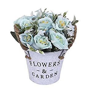 Charmly Artificial Flowers Potted European Style Design Silk Rose Arrangements Bonsai House Office Restaurant Table Centerpieces Windowsill Decor Rose-Bule