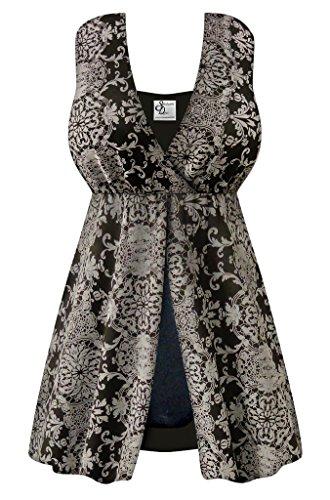 Black & Gray Damask Print 1-Piece Flyaway Front Plus & Super Size Swimsuit 2x