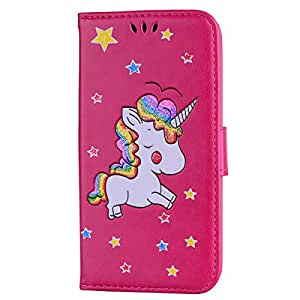 iPhone X Case,iPhone X Wallet Case, Ztongy Flip Case Rainbow Unicorn PU Leather Magnetic Flip Folio Cover with TPU Soft Bumper Case Cards Slot Cash Pockets for Apple iPhone X Case 2017 (Hot Pink)