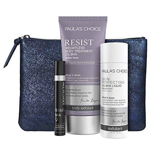 Paula's Choice Exclusive Exfoliant Set - Includes 2% BHA for Face & Body and 9% Salicylic Acid Spot Treatment with Bonus Clutch