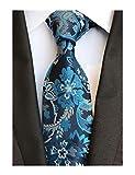Men Cyan Blue Paisley Ties Handmade Elegant Party Luxurious Neckties for Big Boy