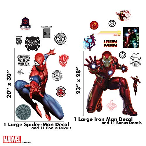 Marvel Spider-Man & Iron Man Bundle Augmented Reality Stickers for Kids Rooms - Kids Wall Decals for Bedroom are Easy to Put Up On Wall & Peel Off - Best Bedroom Décor by Marvel (Image #1)