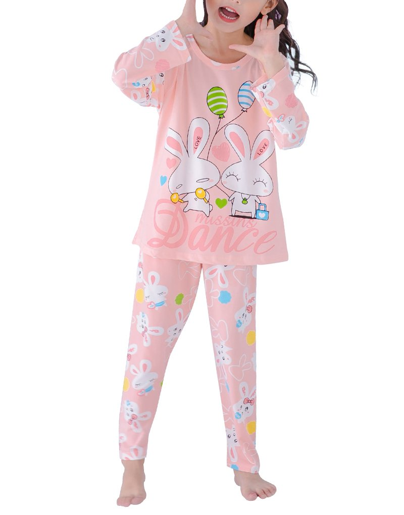 MyFav Girls Lovely Dancing Rabbits Pajama Heart Shape Love Sleepwear Winter Gown