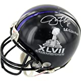 NFL Baltimore Ravens Joe Flacco Autographed SB XLVII Dual Logo Mini Helmet with ''SB XLVII MVP'' Inscription