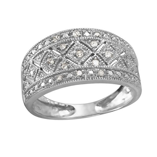 0.12 Carat Natural Diamond 10K White Gold Wedding Band for Women Size 7 0.12 Ct Natural