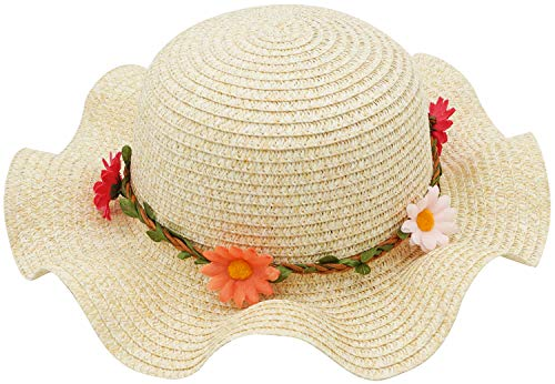 (Bienvenu Sun Straw Hat Kids Girls Large Wide Brim Travel Beach Beanie Cap,Beige)