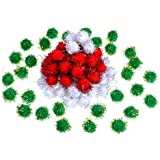 Shappy 100 Pieces Christmas Pom Poms Glitter Pom Decor for Arts Crafts DIY, Green, White and Red (20 mm)