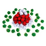 Shappy 100 Pieces Christmas Pom Poms Glitter Pom Decor for Arts Crafts DIY, Green, White and Red