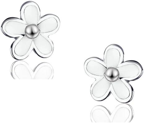 925 Sterling Silver White Enamel Daisy Flower Stud Earrings for Women Earrings Silver Jewelry