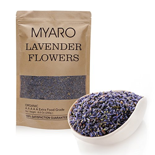 MYARO Best Organic A A A A A Extra Food Grade Purple Lavender Flower Dried Flowers for Cooking , Aromatherapy, Crafts Potpourri ,Home Fragrance, 8.8 Oz, MR-07