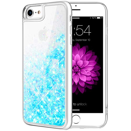 (Caka iPhone 8 Case, iPhone 8 Glitter Case with Tempered Glass Screen Protector Bling Flowing Floating Luxury Glitter Sparkle Soft TPU Liquid Case for iPhone 7 8 (4.7 inch) (Aqua Blue))