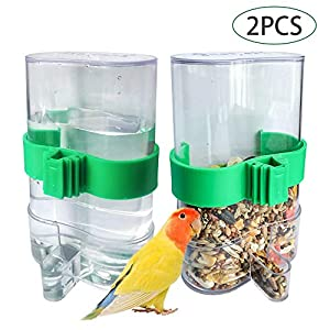 Hamiledyi Parakeet Water Dispenser No Mess Parrot Feeder Parakeet Waterer Cockatiel Cage Accessories,Automatic Feeding…