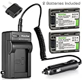 Kastar Battery (2-Pack) and Charger Kit for Sony NP-FP51, NP-FP50, NP-FP30, NP-FP70, NP-FP60, NP-FP71, TRV, TRV-U & Sony DCR-HC30 40 43E 65 85 94E 96 DCR-SR30 40E 50E 60E 70E 80E 100 Camera