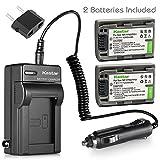 Kastar Battery (2-Pack) and Charger Kit for Sony NP-FP51, NP-FP50, NP-FP30, NP-FP70, NP-FP60, NP-FP71, TRV, TRV-U & Sony DCR-HC30 40 43E 65 85 94E 96 DCR-SR30 40E 50E 60E 70E 80E 100 Camera