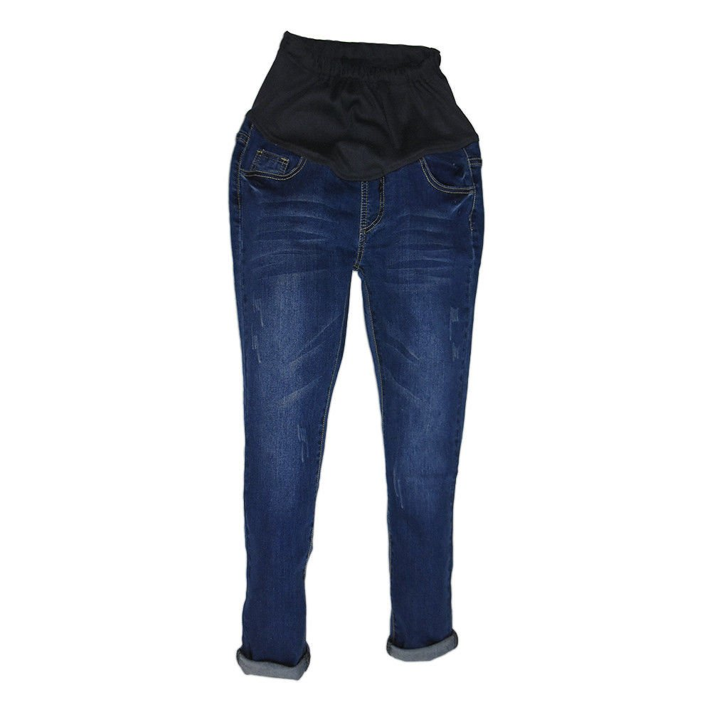 Haodasi Maternity Pregnant Trousers Vintage Maternity Jeans Motherhood Slim-fit Over The Bump Pants Pregnant Trousers