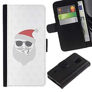SAMSUNG Galaxy S5 V / i9600 / SM-G900 Modelo colorido cuero carpeta tirón caso cubierta piel Holster Funda protección - White Christmas Winter Holidays