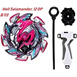 URCARA Bey Beyblades Hell Salamander Gyro Battling Cho-Z Layer System B-113, 12 OP Balance Booster Top Spinning with Grip Set and B-40 Launcher