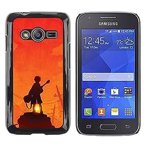 rígido protector delgado Shell Prima Delgada Casa Carcasa Funda Case Bandera Cover Armor para Samsung Galaxy Ace 4 G313 SM-G313F /Guitar Player Sunset Rock Orange/ STRONG