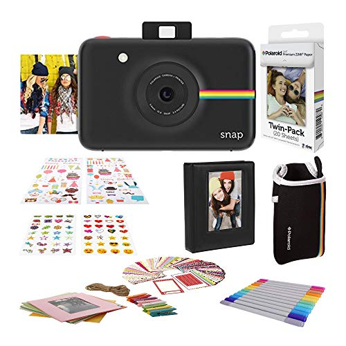Polaroid Snap Instant Digital Camera (Black) with 2×3ʺ Premium Photo Paper 20-Pack, Neoprene Pouch, Zink Paper Unique Colorful Stickers & Photo Album Accessories