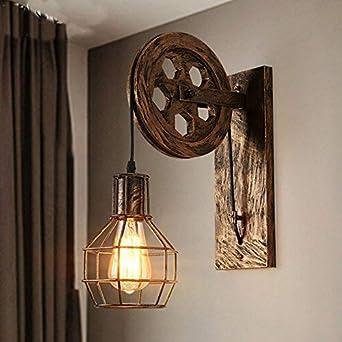 Wklcf Roue Applique Murale Rétro E27 Lampe Murale Vintage Décorative