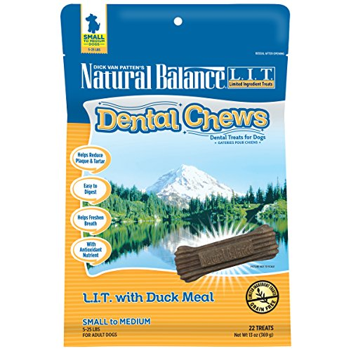 Natural Balance Dental Chews Dog Treats, L.I.T. Limited Ingredient Treats Duck Meal Formula, Grain Free, for Small Dogs, 13-Ounce (Density Bone Foods)