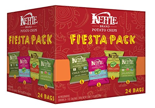 Kettle Brand Potato Chips Fiesta Variety Pack of Chile Verde, Tropical Salsa, Chili Lime and Jalapeno, 24 Count ()